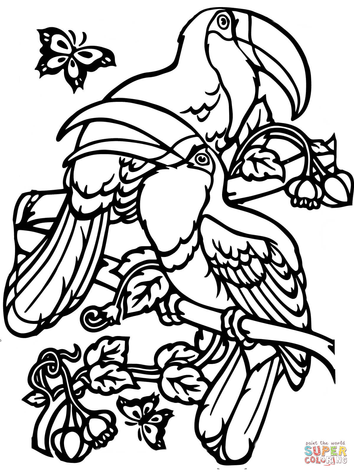 Two Toucans Coloring Page