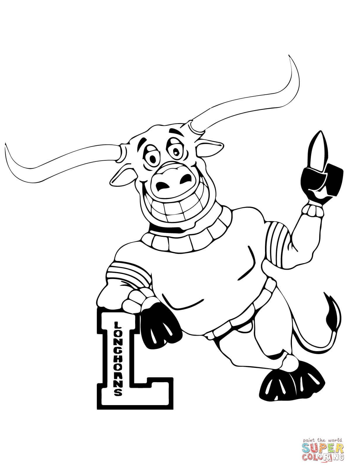 Ut Longhorn Mascot Coloring Page