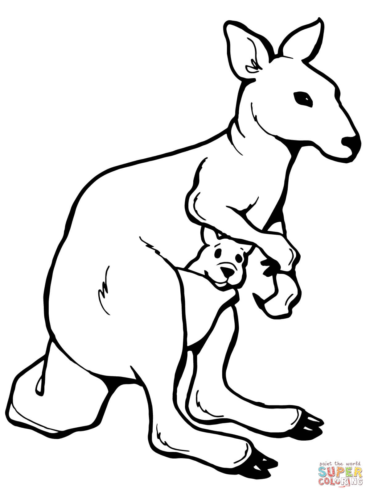 Kangaroo With A Joey Coloring Page