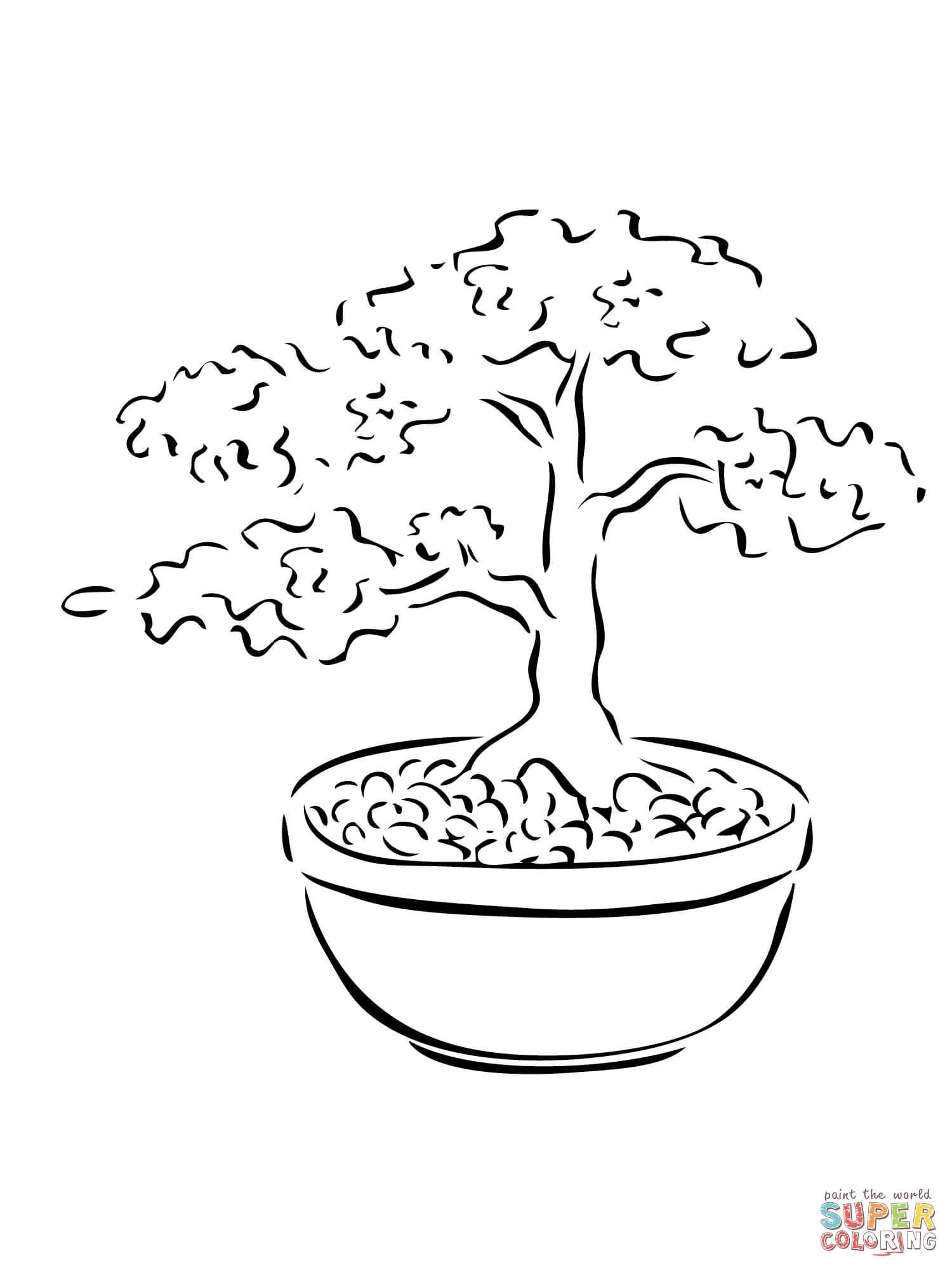 Desenho de Bonsai árvore miniatura para colorir