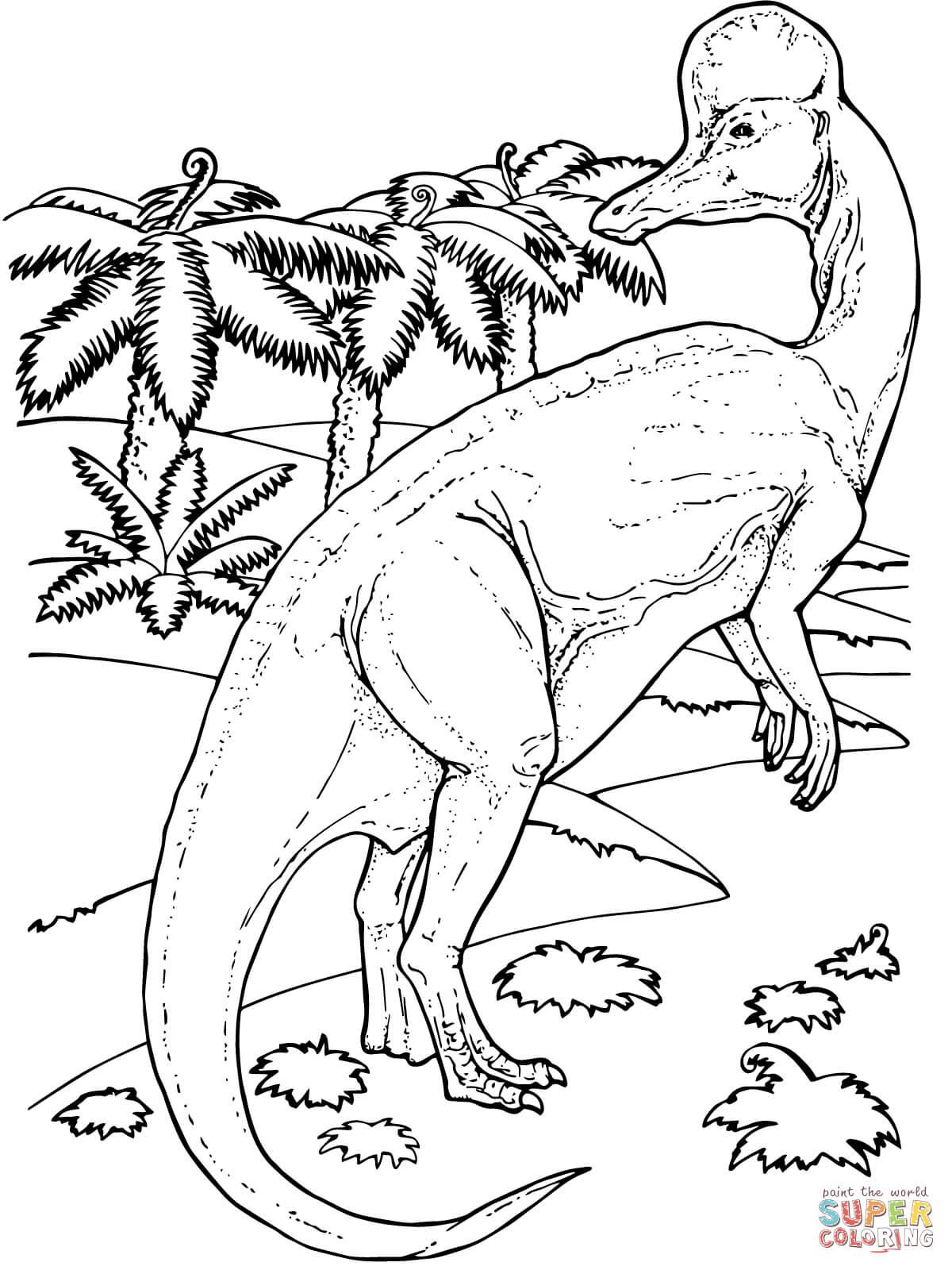 Corythosaurus In The Background Dinosaur