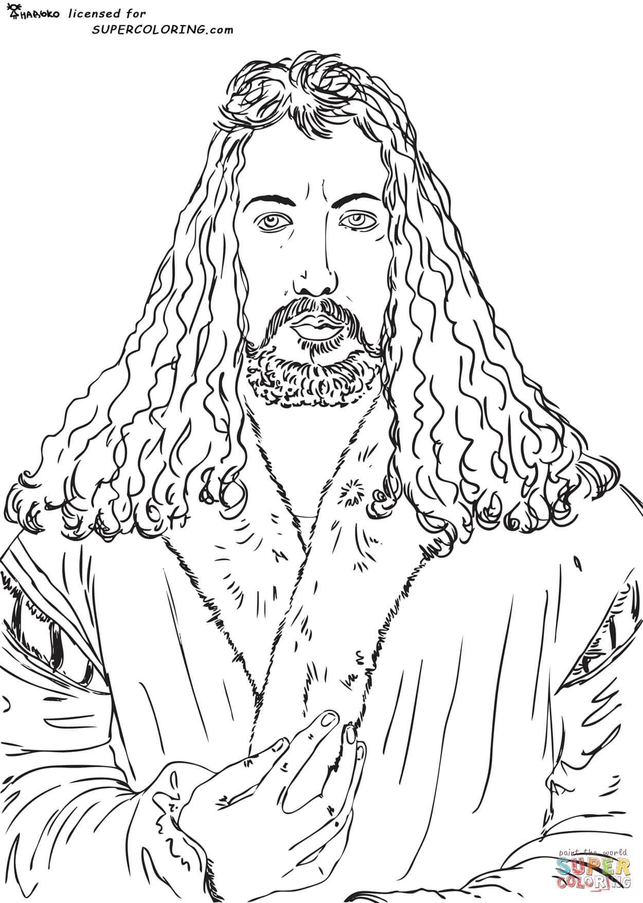 Ausmalbild Selbstportrait von Albrecht Dürer