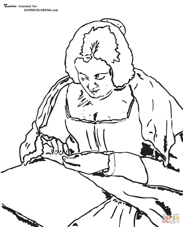 Dibujo de Hilandera de Diego Velázquez para colorear