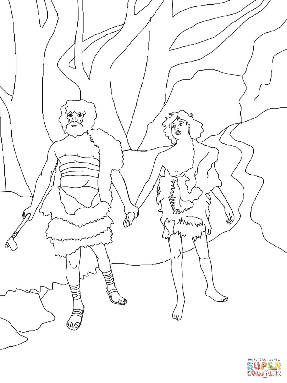 Dibujo de Caín guía a Abel a la muerte para colorear