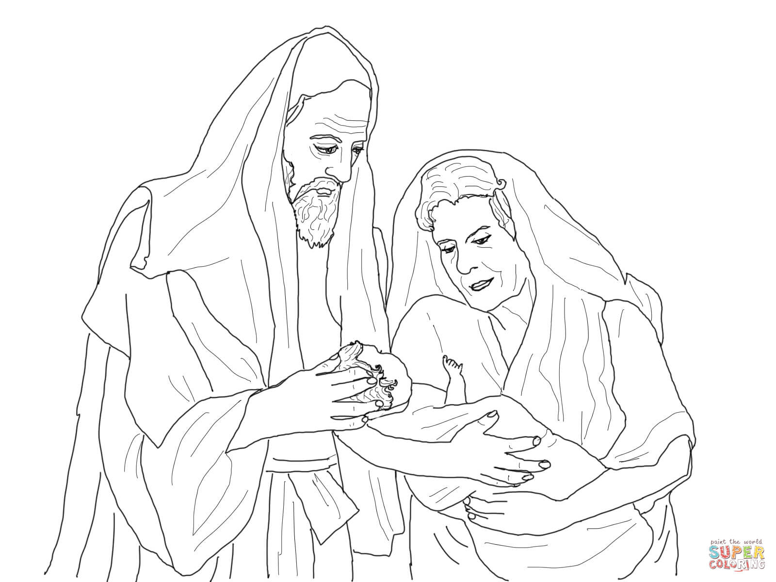 Abraham, Sarah and Their Newborn Son Isaac coloring page