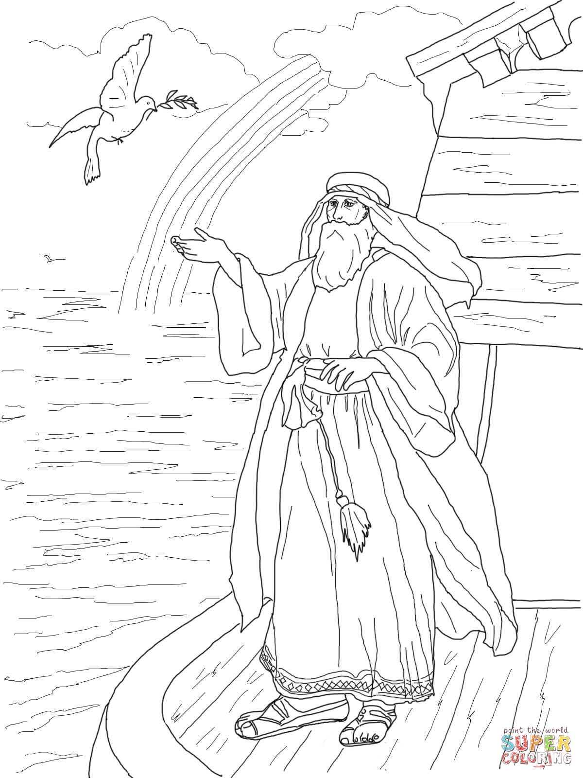 Noah's Dove Returns with the Olive Leaf coloring page