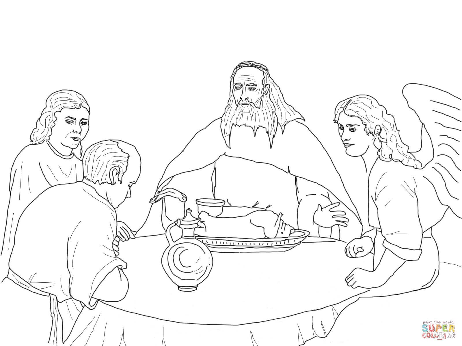Dibujo De Dios Y Los Angeles Visitan A Abraham Para
