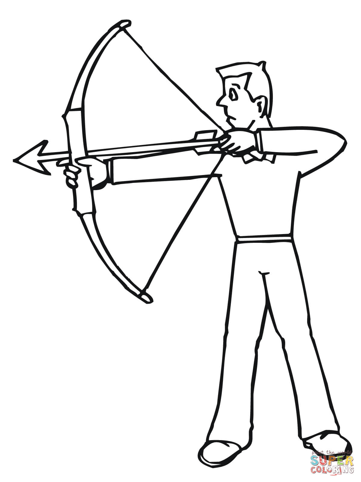 Archer Ready To Shoot Coloring Page