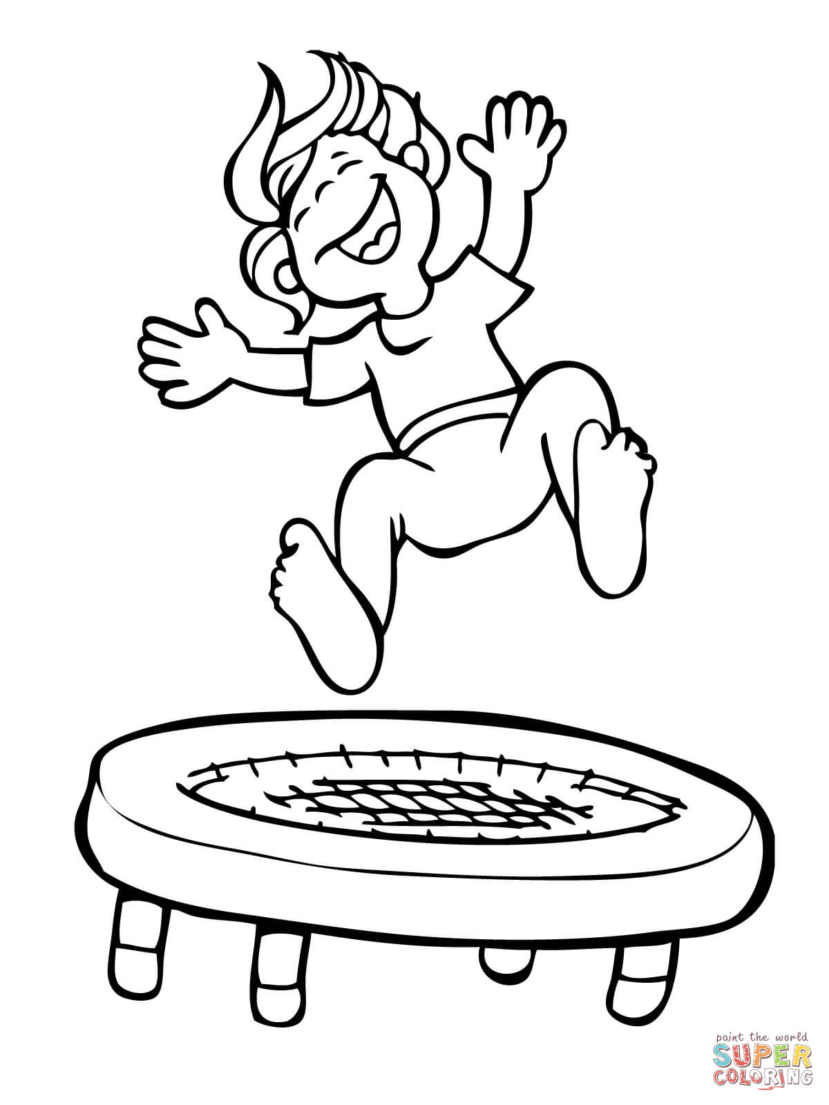 Kid Jumping On The Trampoline Coloring Page