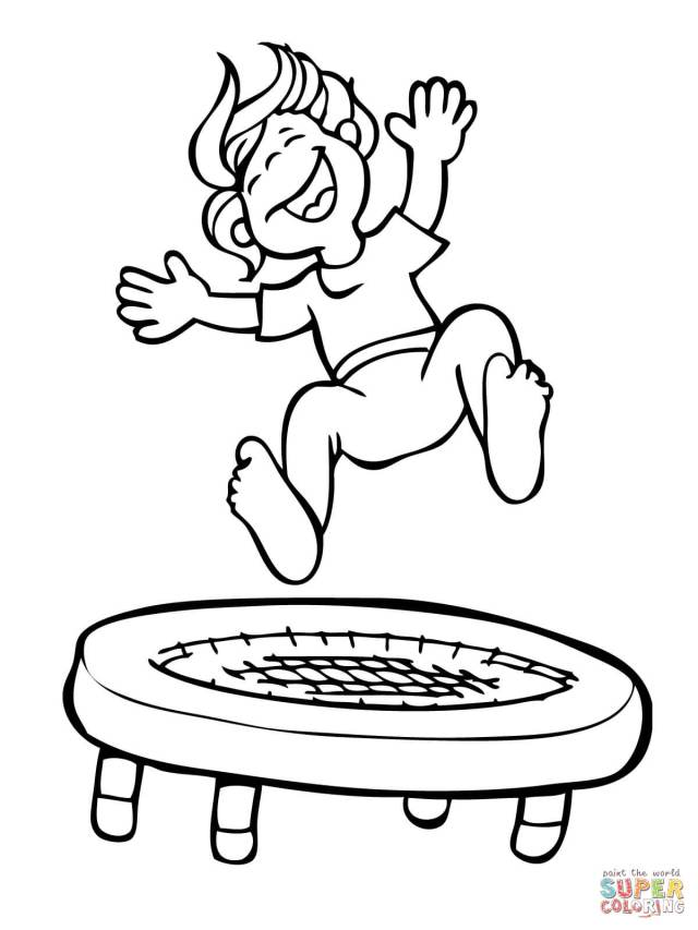 Kid Jumping on the Trampoline coloring page  Free Printable