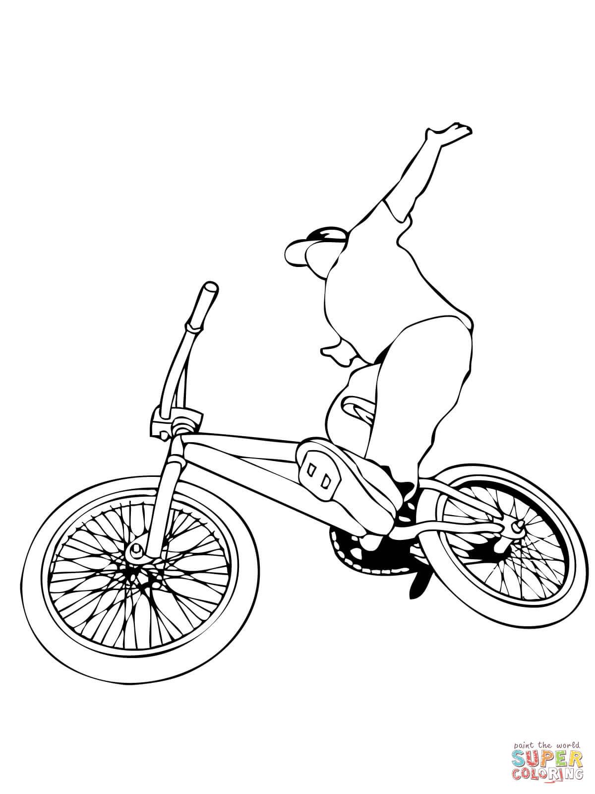 Ausmalbild Bmx Rad Fahren