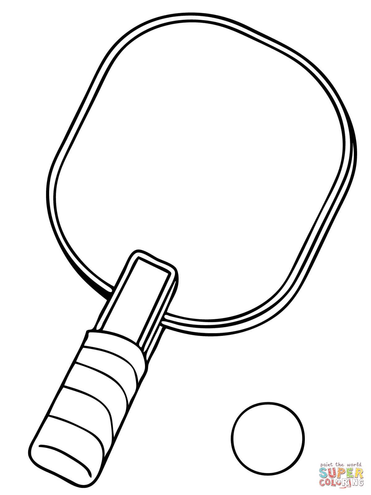 Dibujo de Paleta y Pelota de Tenis de Mesa para colorear
