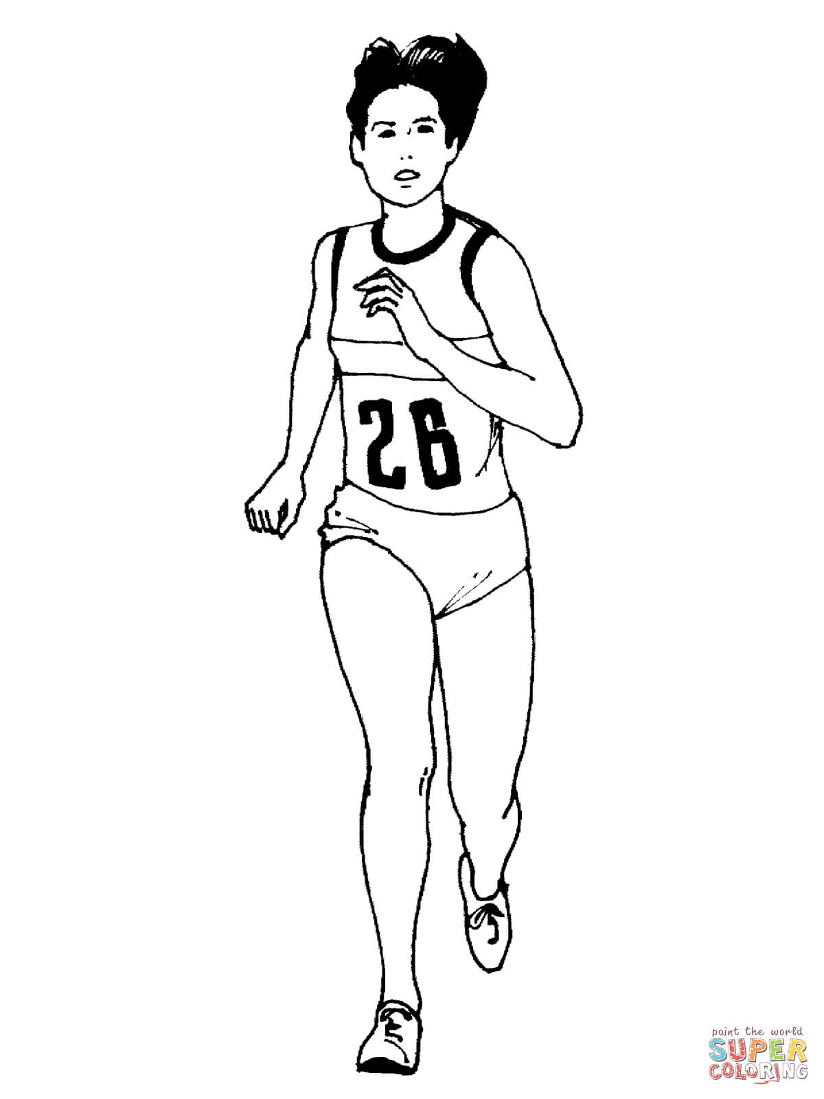 Woman Running A Marathon Coloring Page