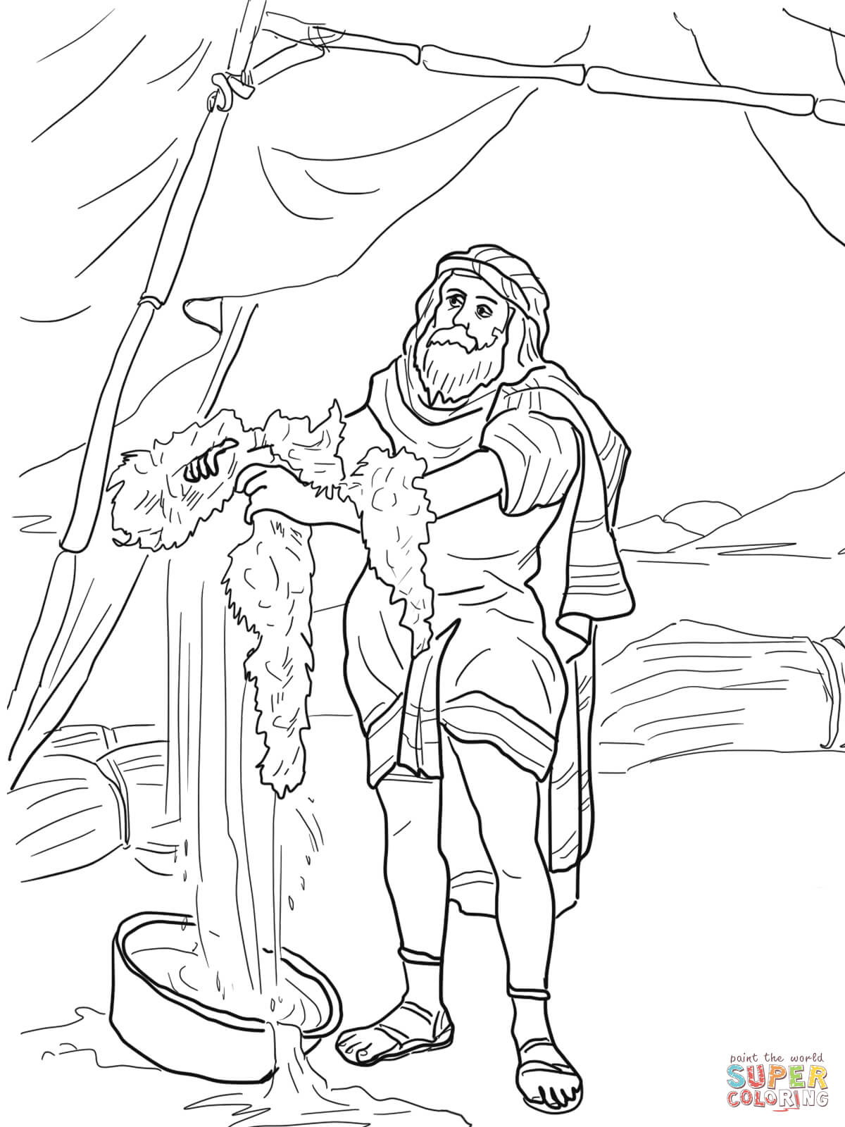 Gideon And The Fleece Coloring Page
