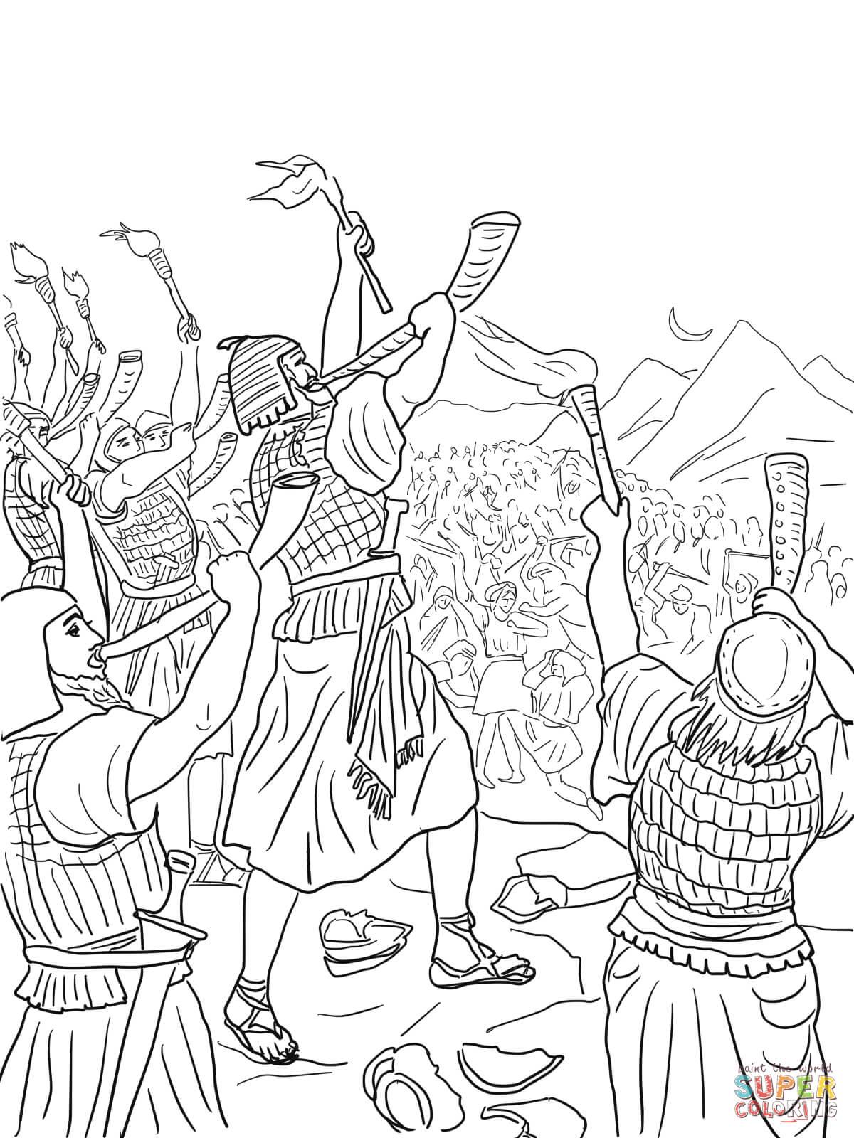 Kolorowanka Bitwa Gedeona przeciwko Madianitom