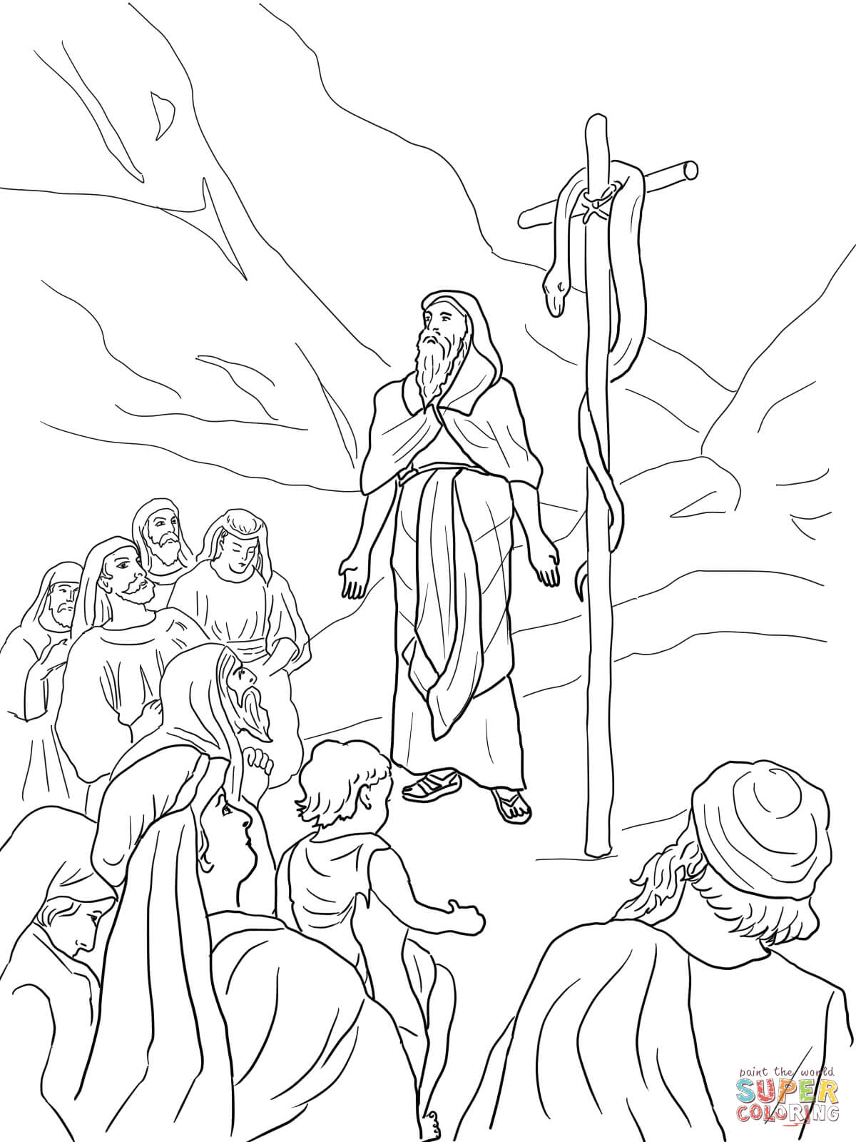 Moses And Brazen Serpent Coloring Page