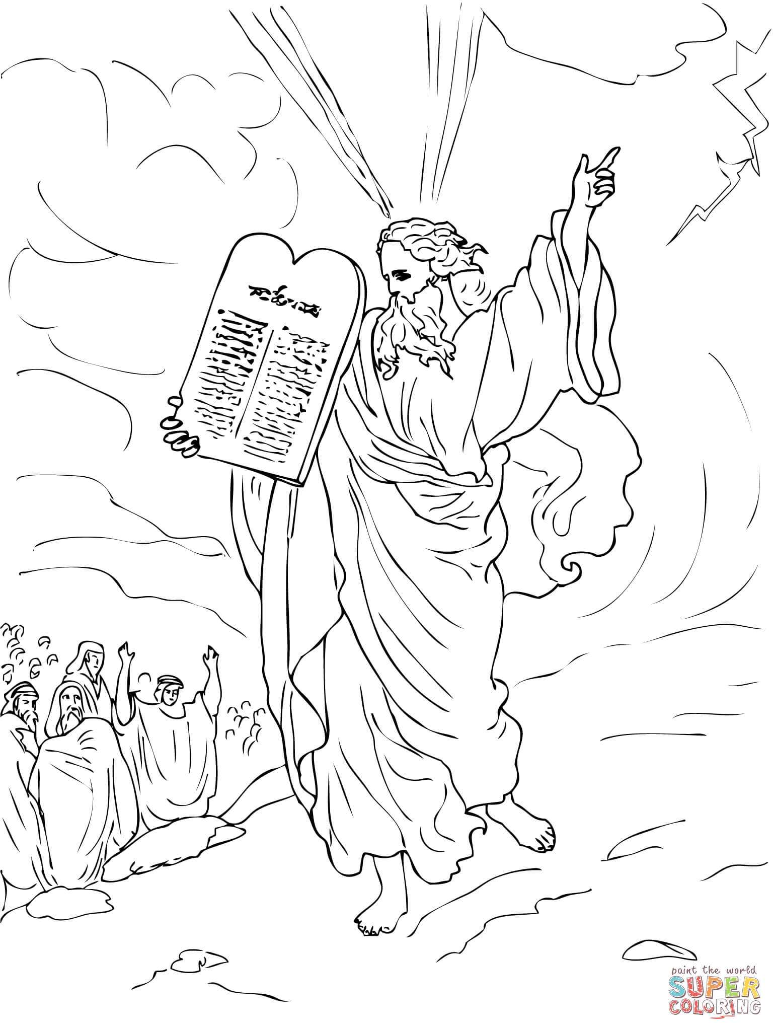 Moses Comes Down from Mount Sinai with Ten Commandments