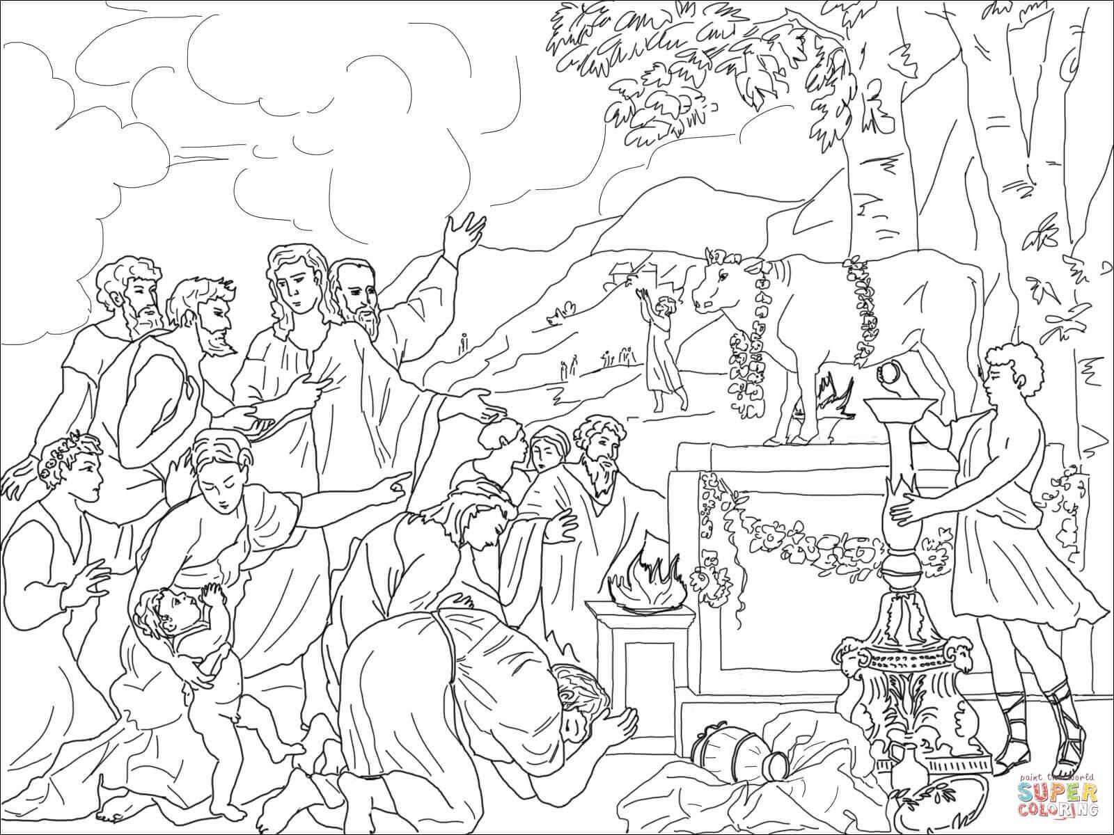 Dibujo de Adoración del Becerro de Oro para colorear