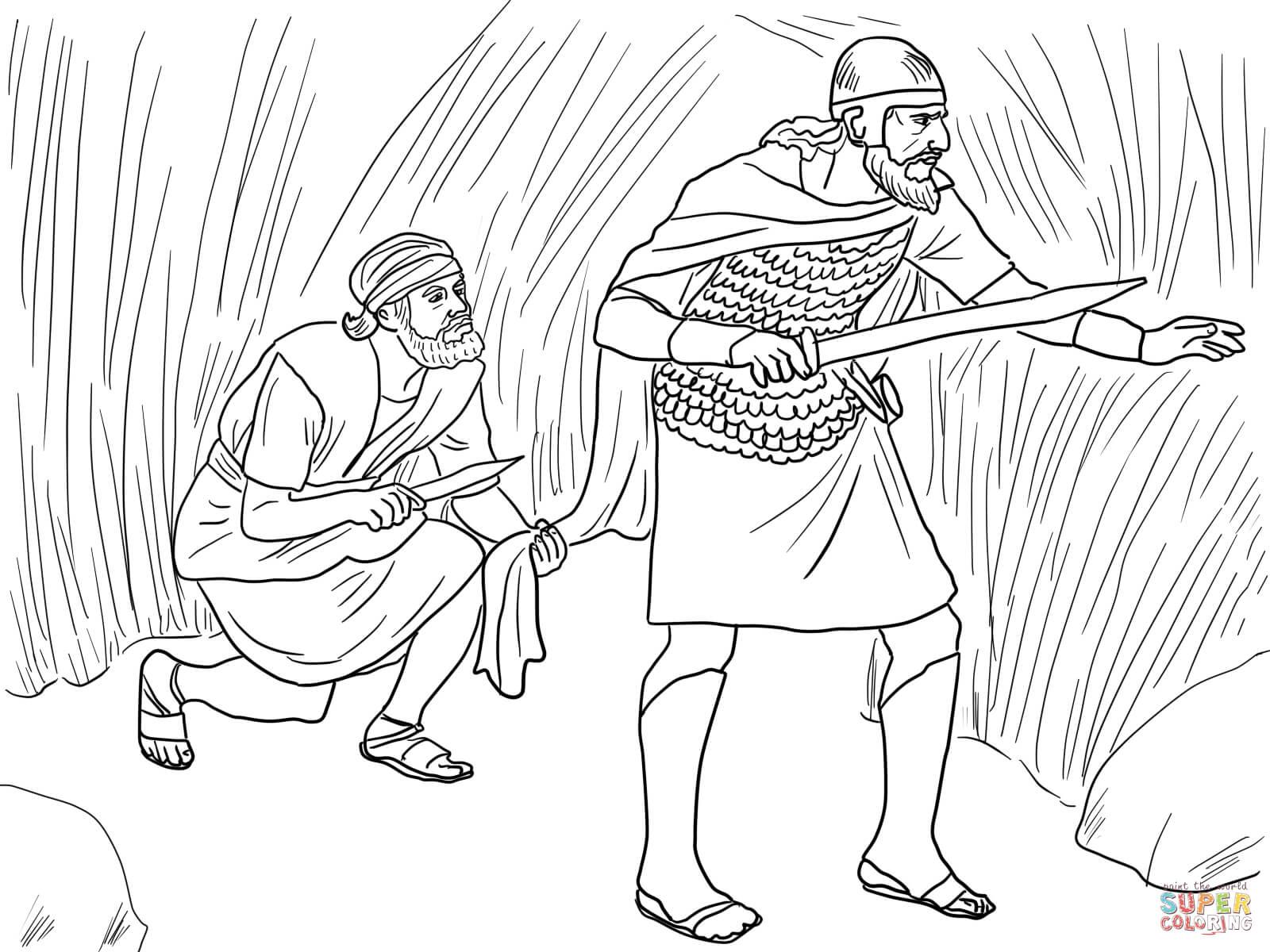 Desenho de Davi corta o manto de Saul para colorir