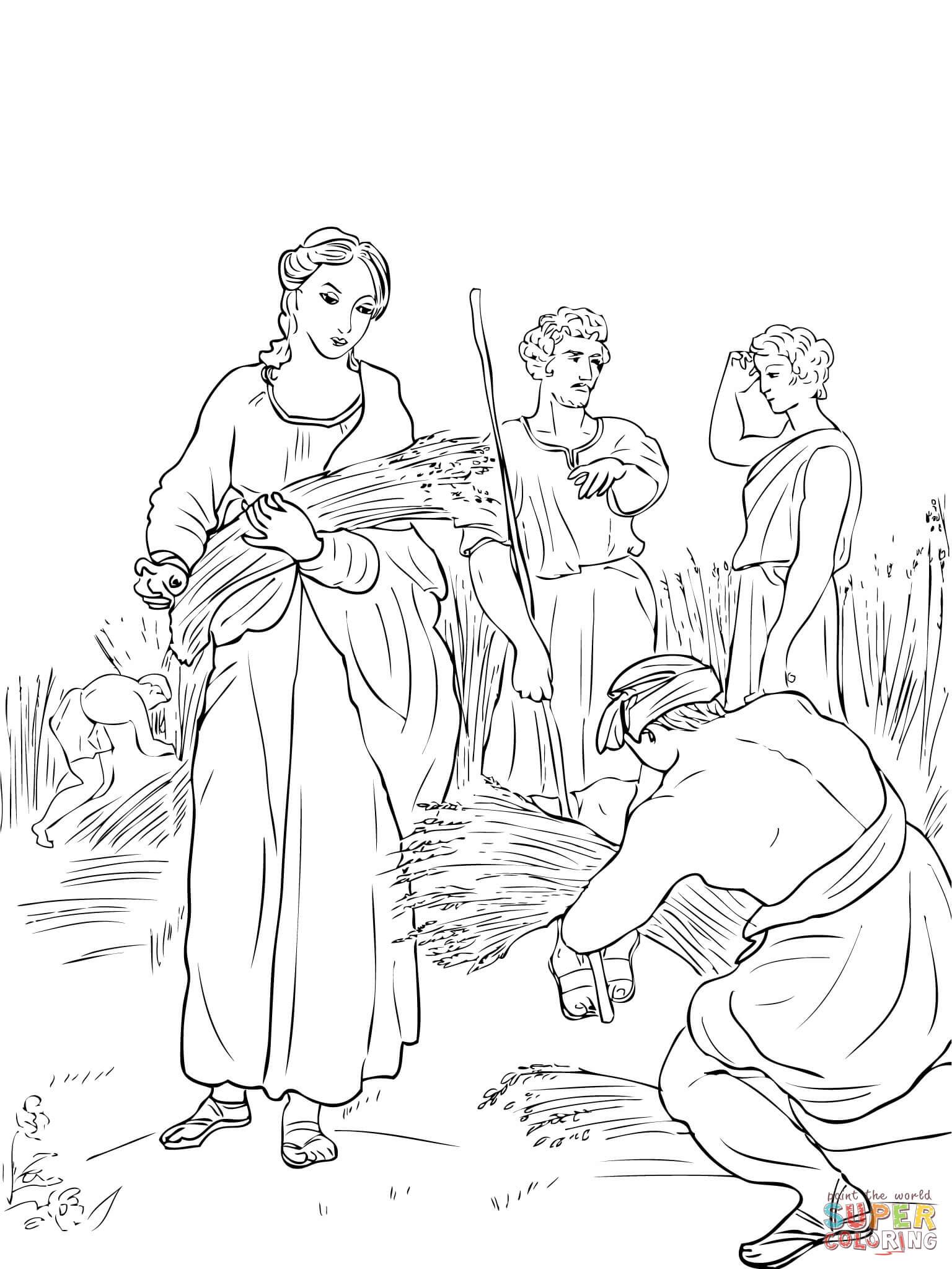 Dibujo de Rut trabajando en los campos para colorear