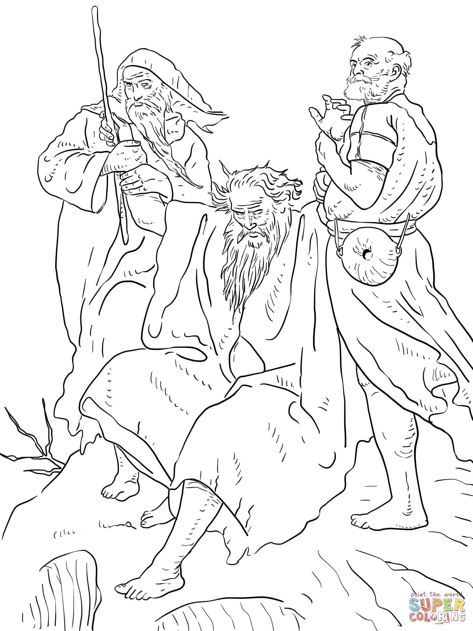 Desenho de Moisés erguendo seus braços durante a batalha