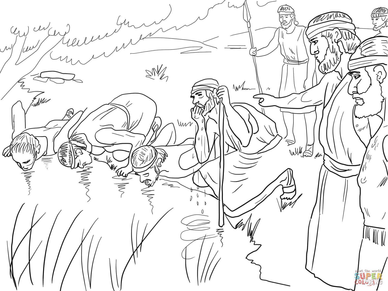 Gideon Selects His Army Of 300 Men Coloring Page Free Printable