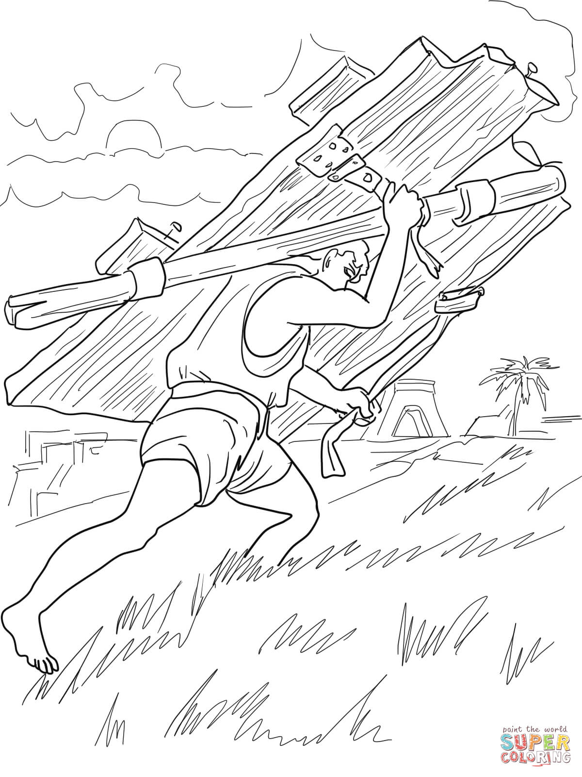 Samson Carries Gates Of Gaza Coloring Page