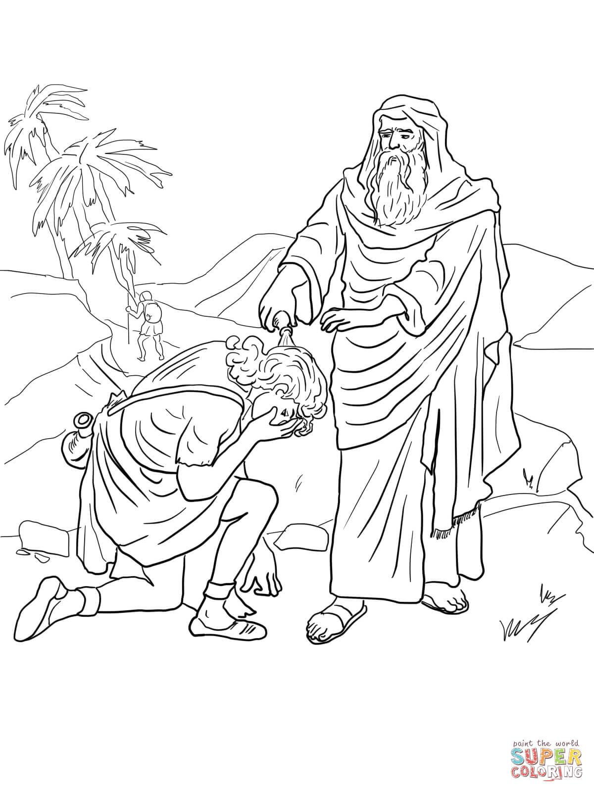 Desenho de Samuel unge Davi como Rei para colorir