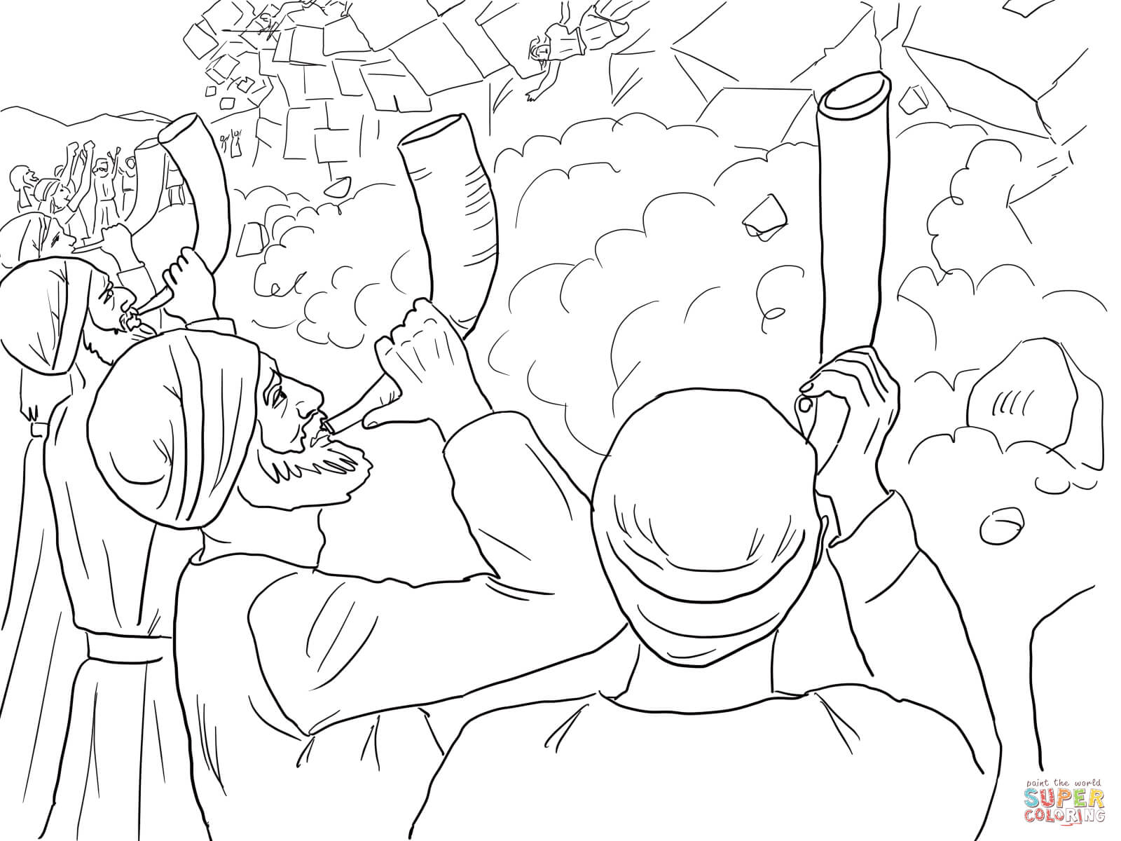 Walls Of Jericho Falling Coloring Page Free Printable Coloring Pages