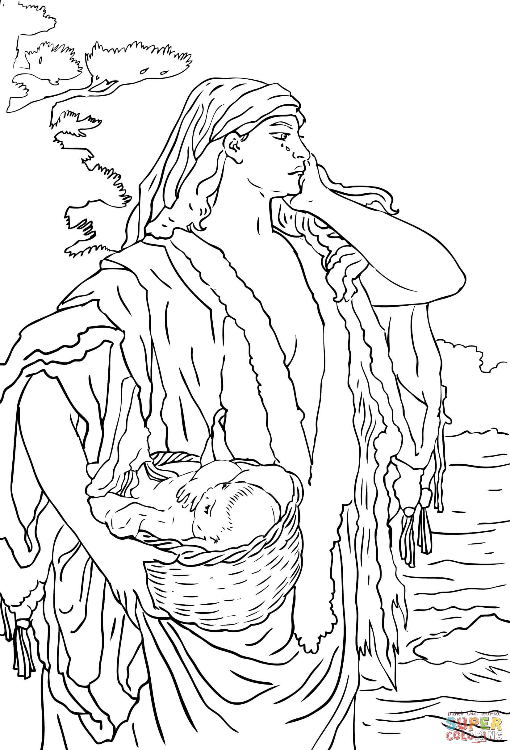 Baby Moses And Jochebed Coloring Page