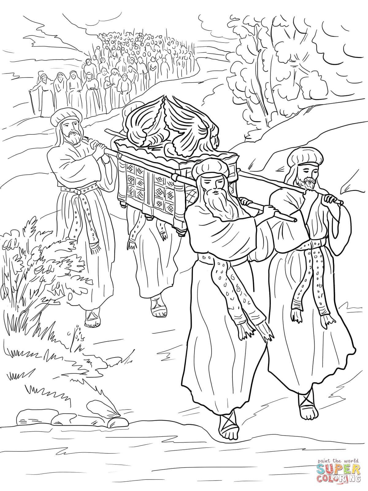 Joshua And The Israelites Cross The Jordan River Coloring