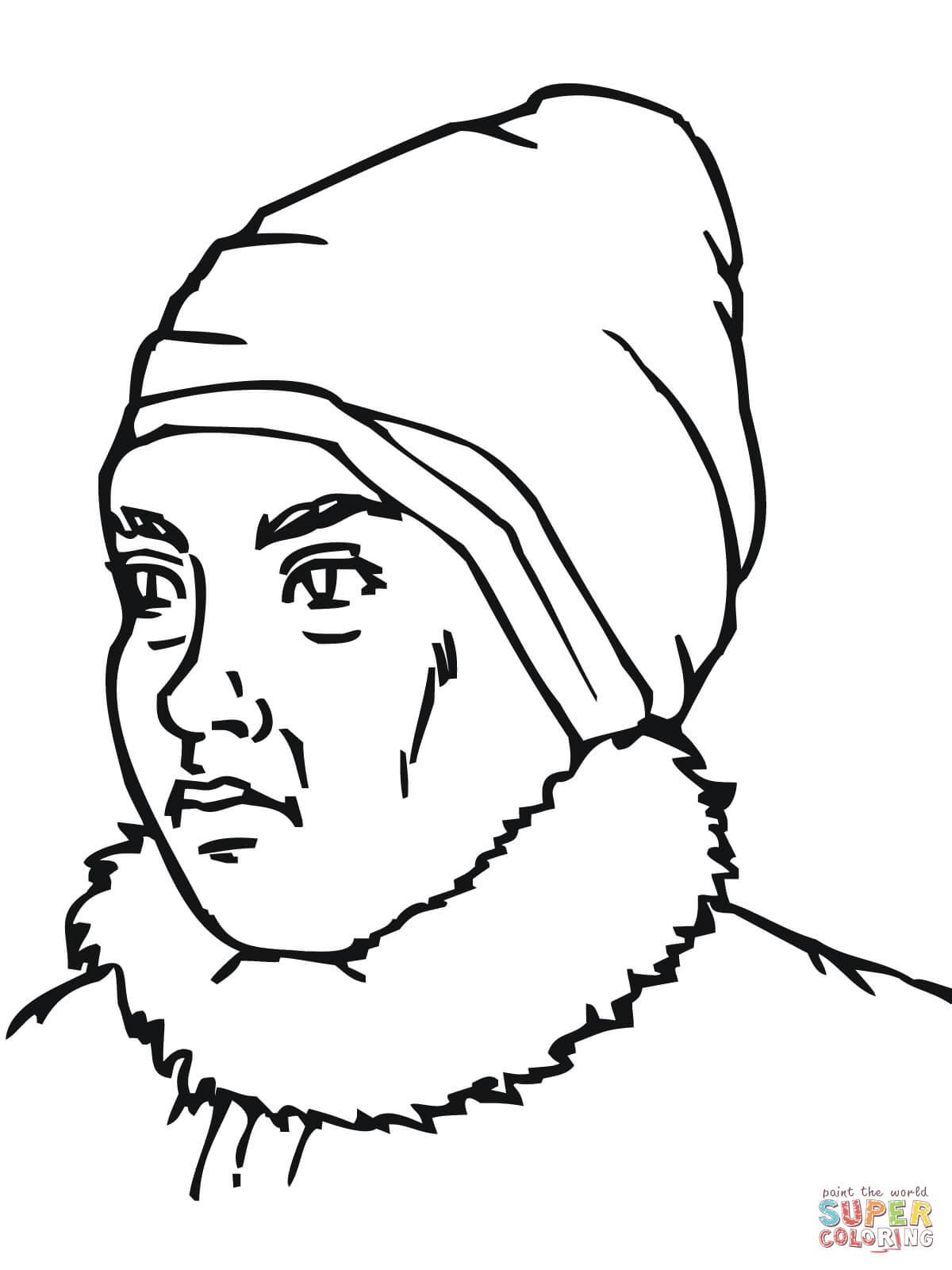 Inuit Eskimovrouw Portret Kleurplaat