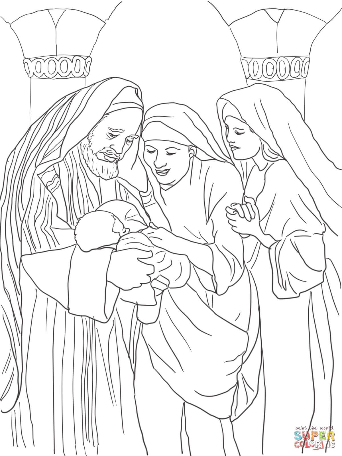 Zechariah, Elizabeth and Baby John the Baptist coloring
