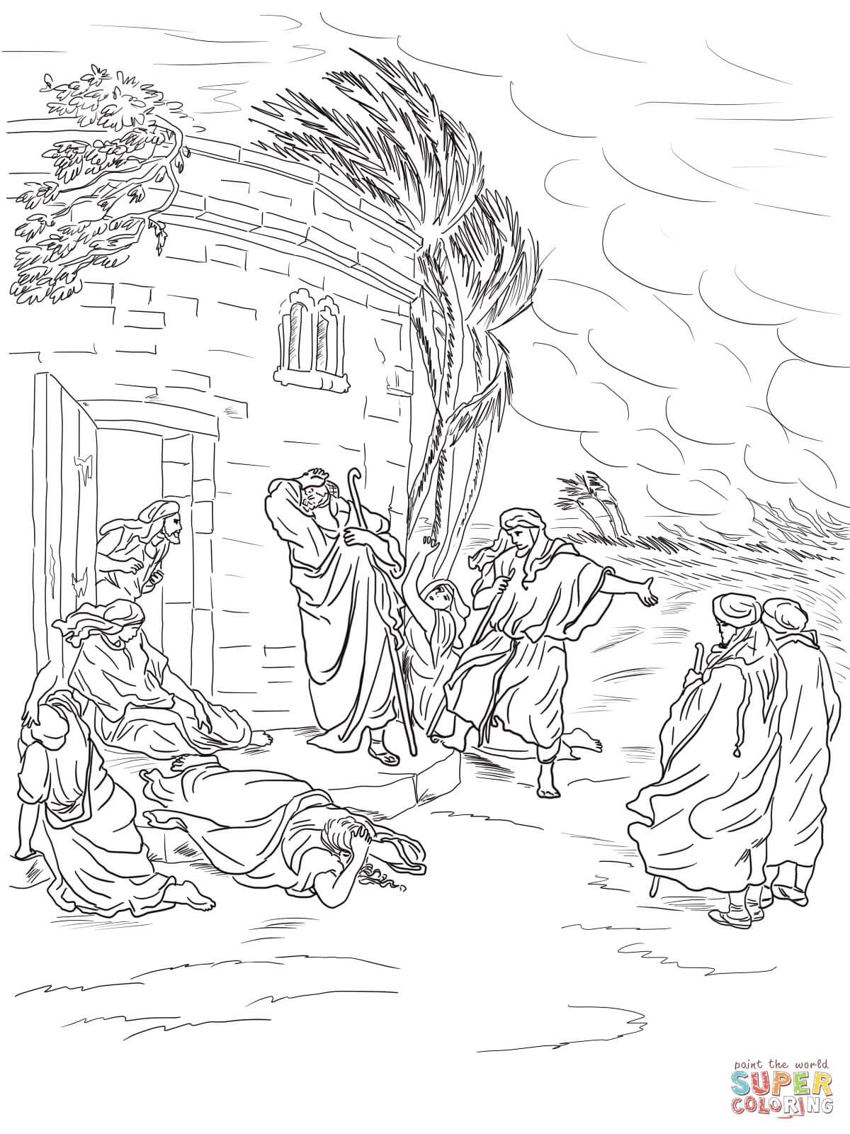 Dibujo de Job oye acerca de su ruina para colorear