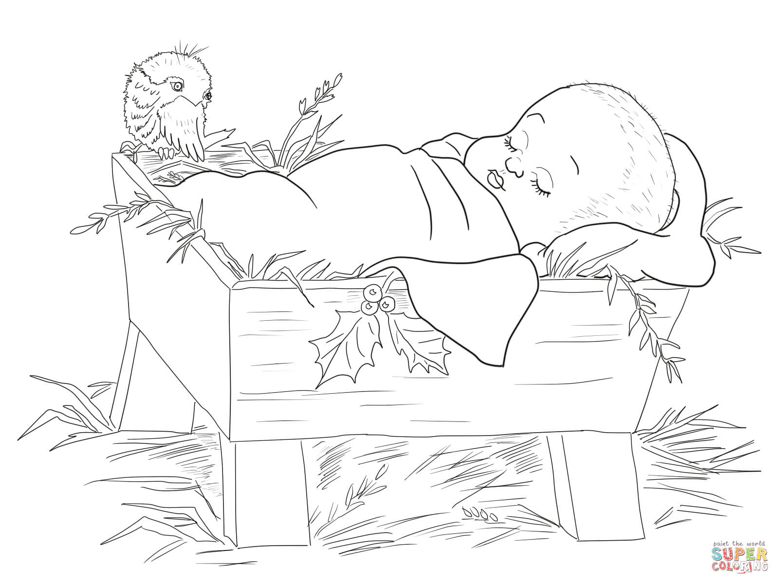 Baby Jesus In A Manger Coloring Page