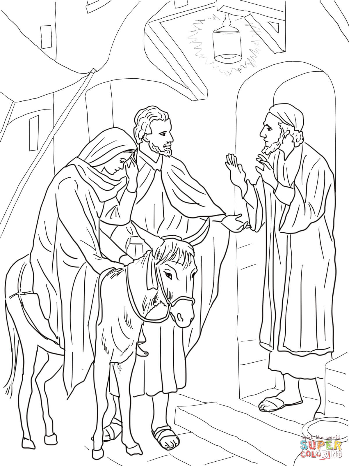 No Room at the Inn for Mary and Joseph coloring page