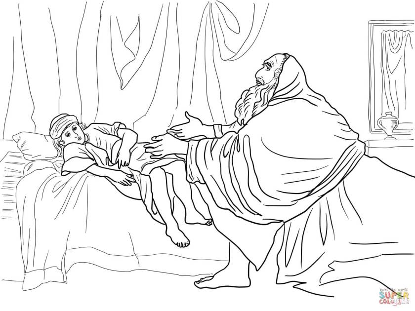 elijah prays for the widow's son coloring page  free