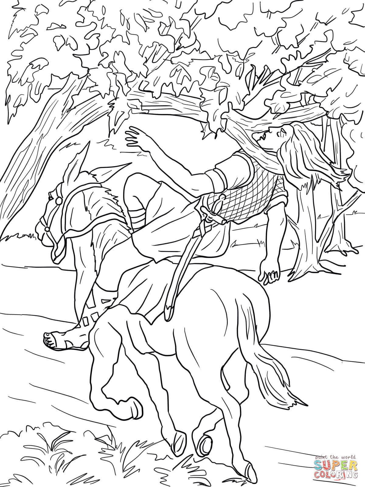 King David And Absalom Coloring Page Sketch Coloring Page