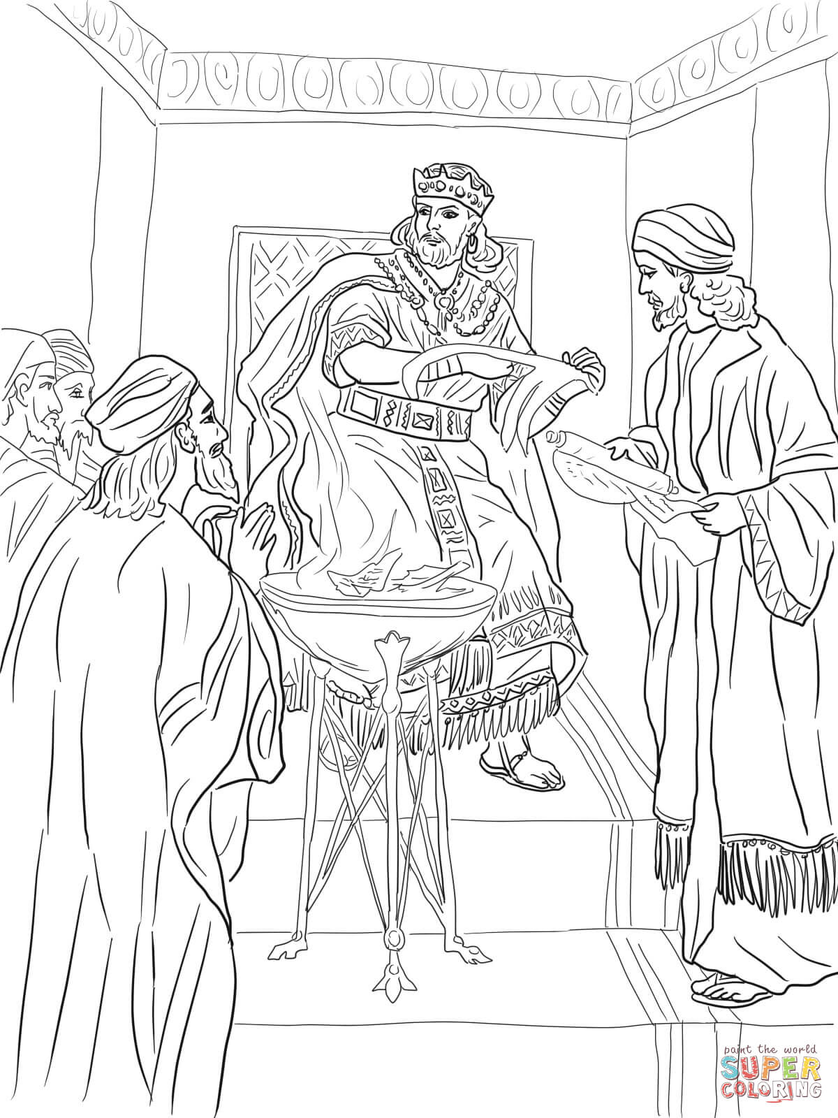 King Jehoiakim Burns Jeremiah's Scroll coloring page