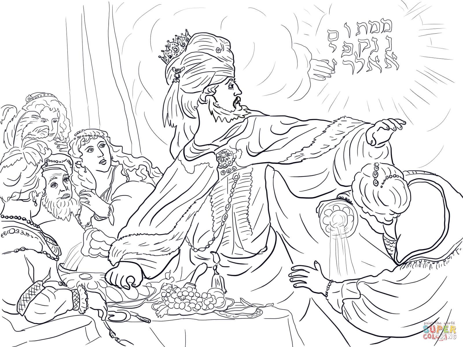 Ausmalbild: König Belsazar und die Zeichen an der Wand