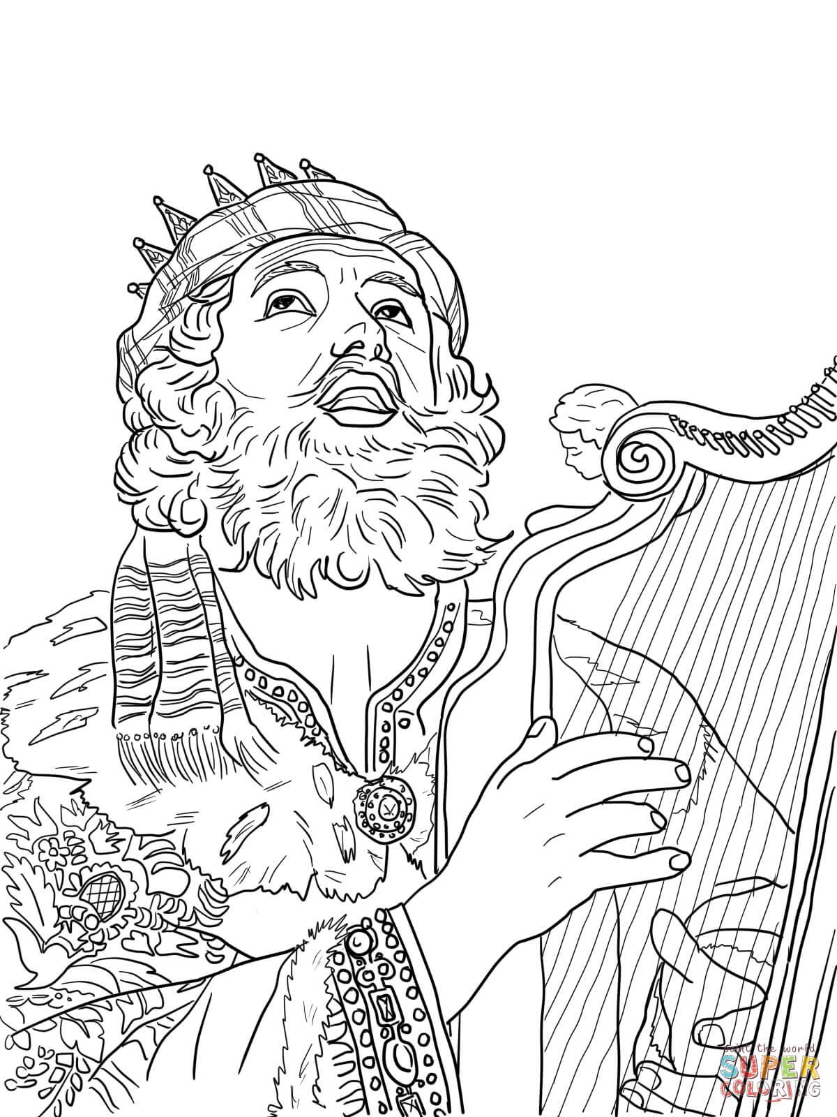 Ausmalbild Knig David Spielt Auf Der Harve