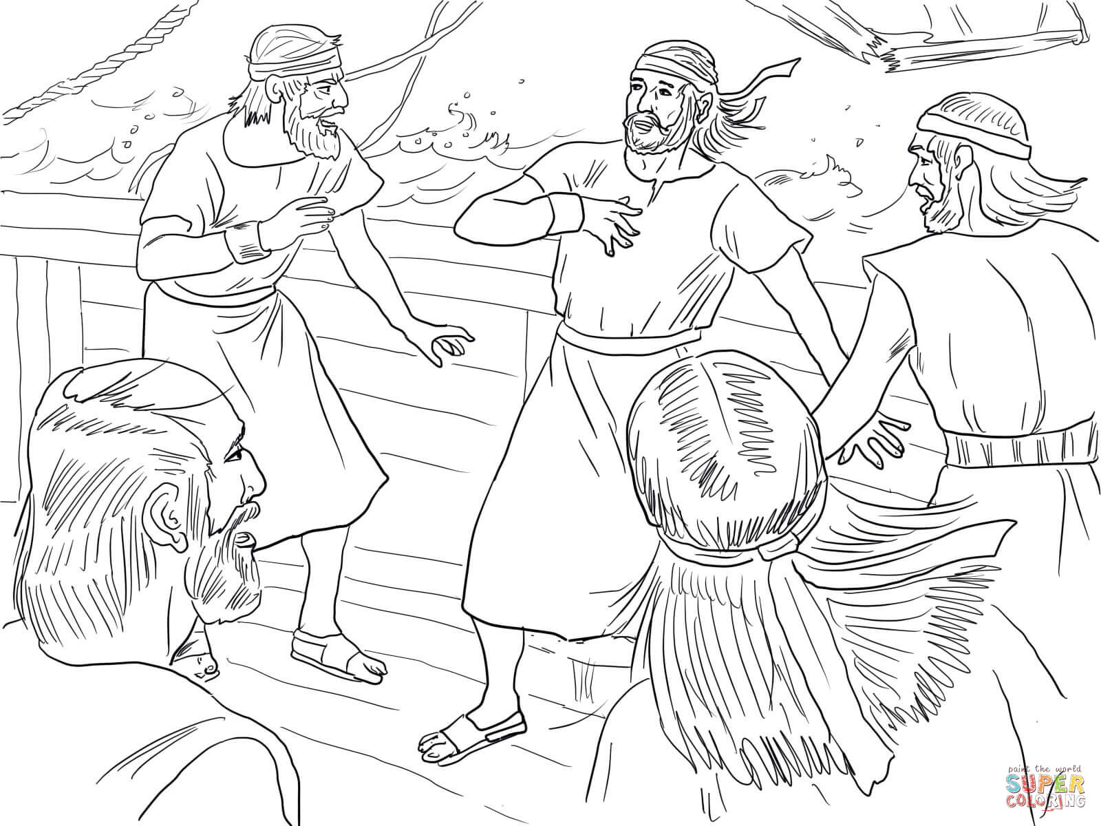 Jonah On Boat During The Storm Coloring Page