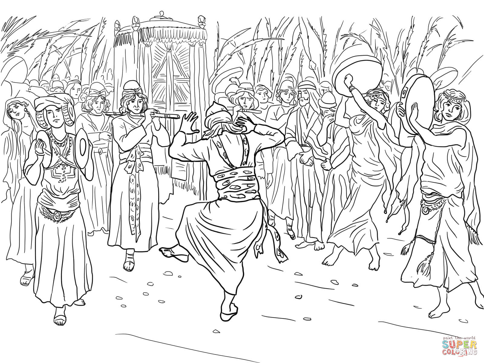 King David Dancing Before the Ark of the Covenant coloring