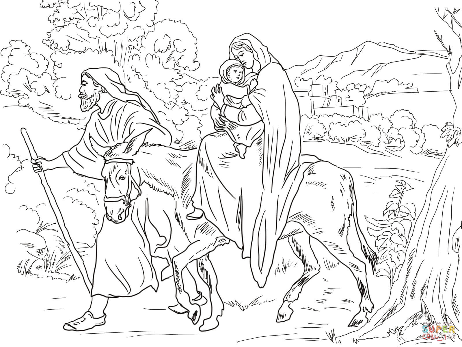 Mary And Joseph Flight Into Egypt Coloring Page