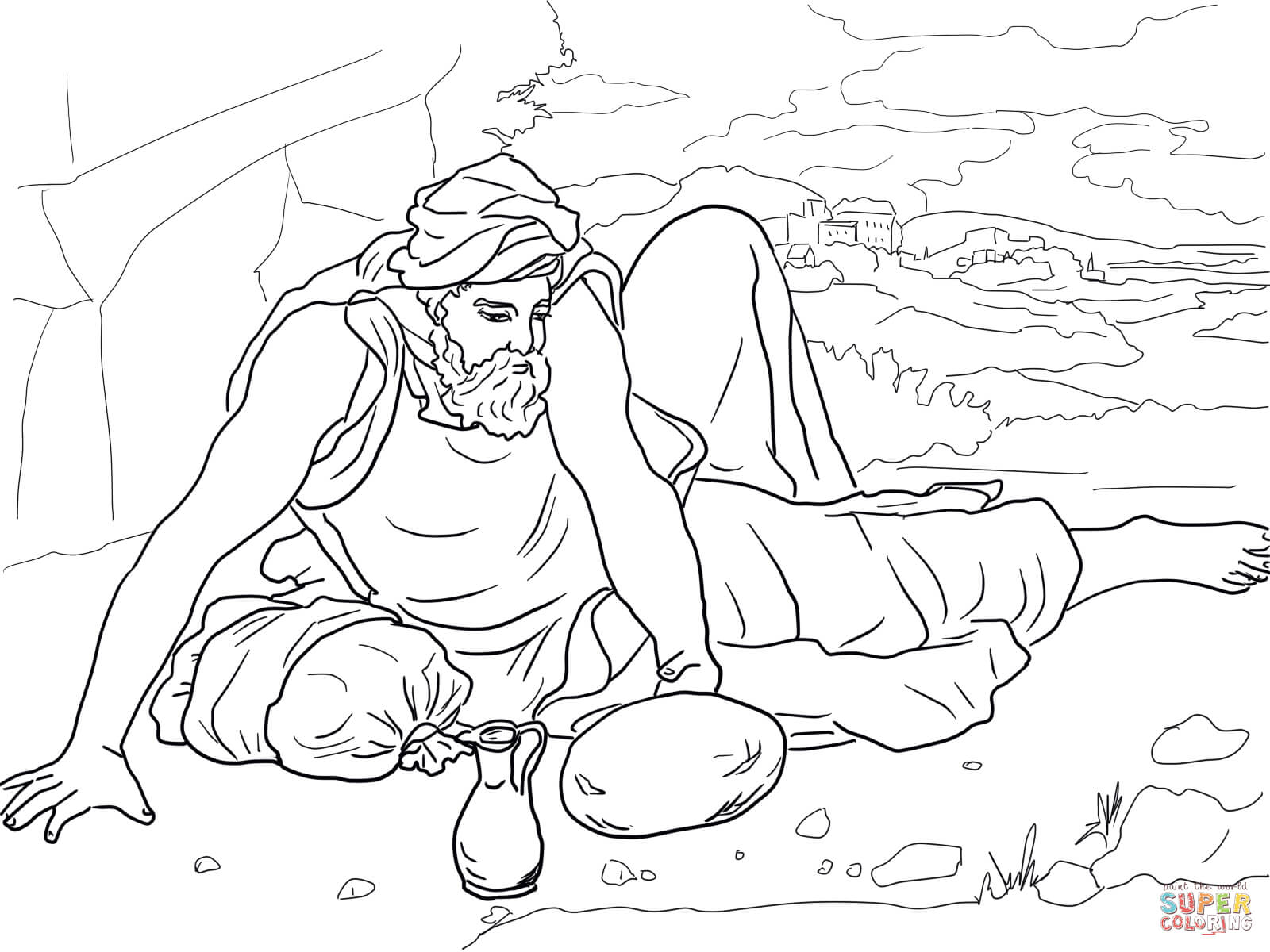 Elijah In The Wilderness Coloring Page