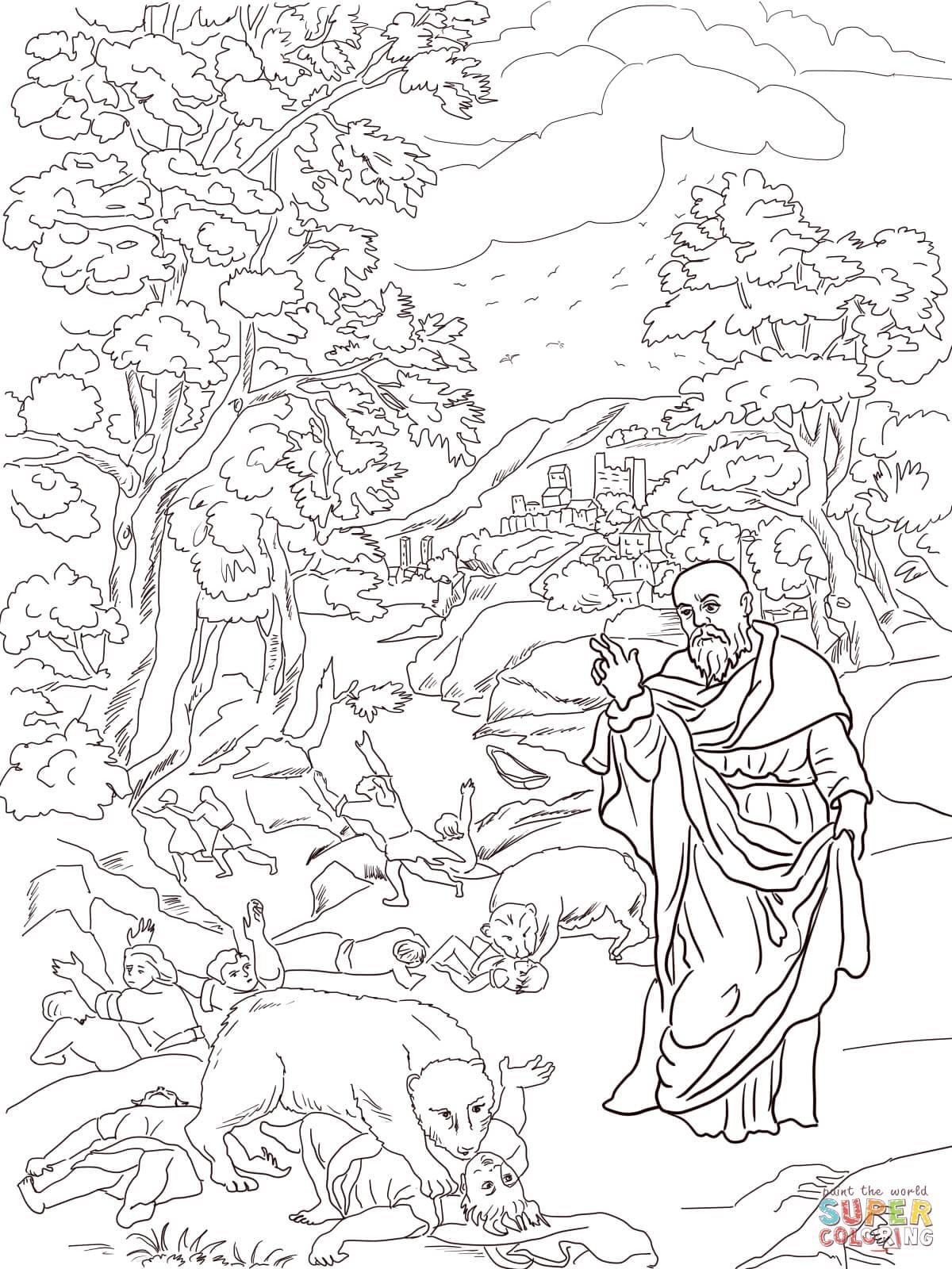 Elisha And The Bears Coloring Page