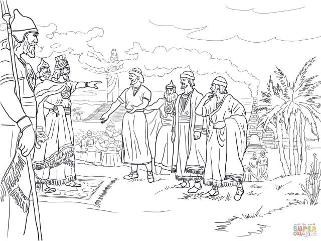 Shadrach, Meshach and Abednego Before King Nebuchadnezzar coloring