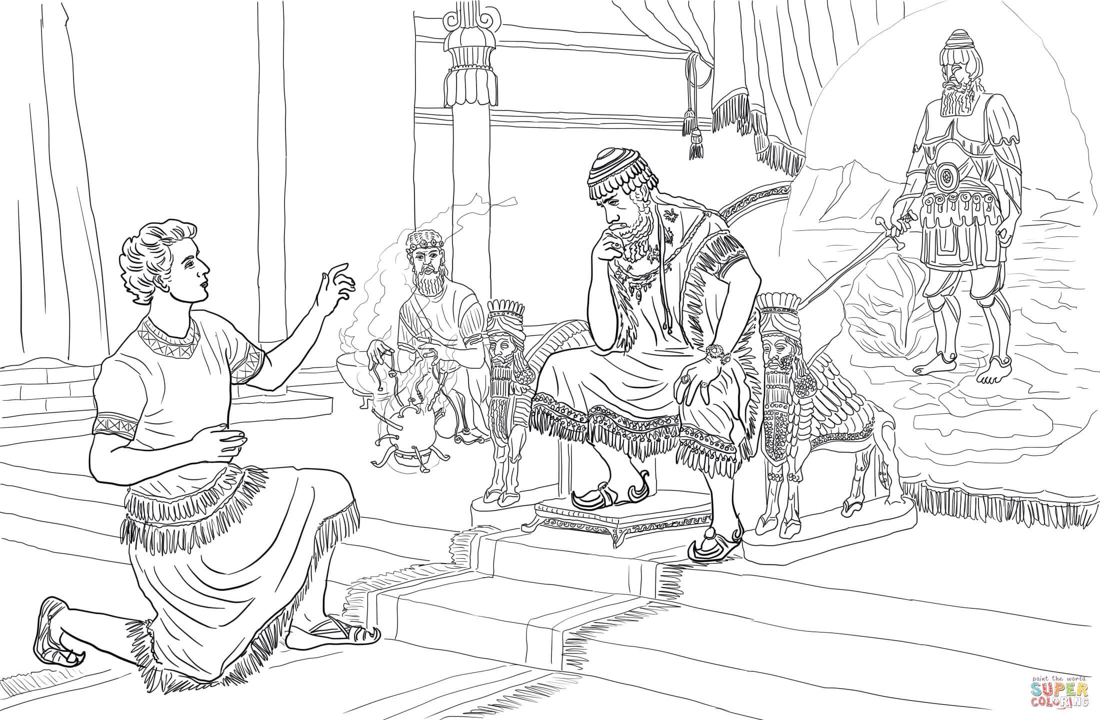 Daniel Legt De Droom Van Nebukadnezar Uit Kleurplaat