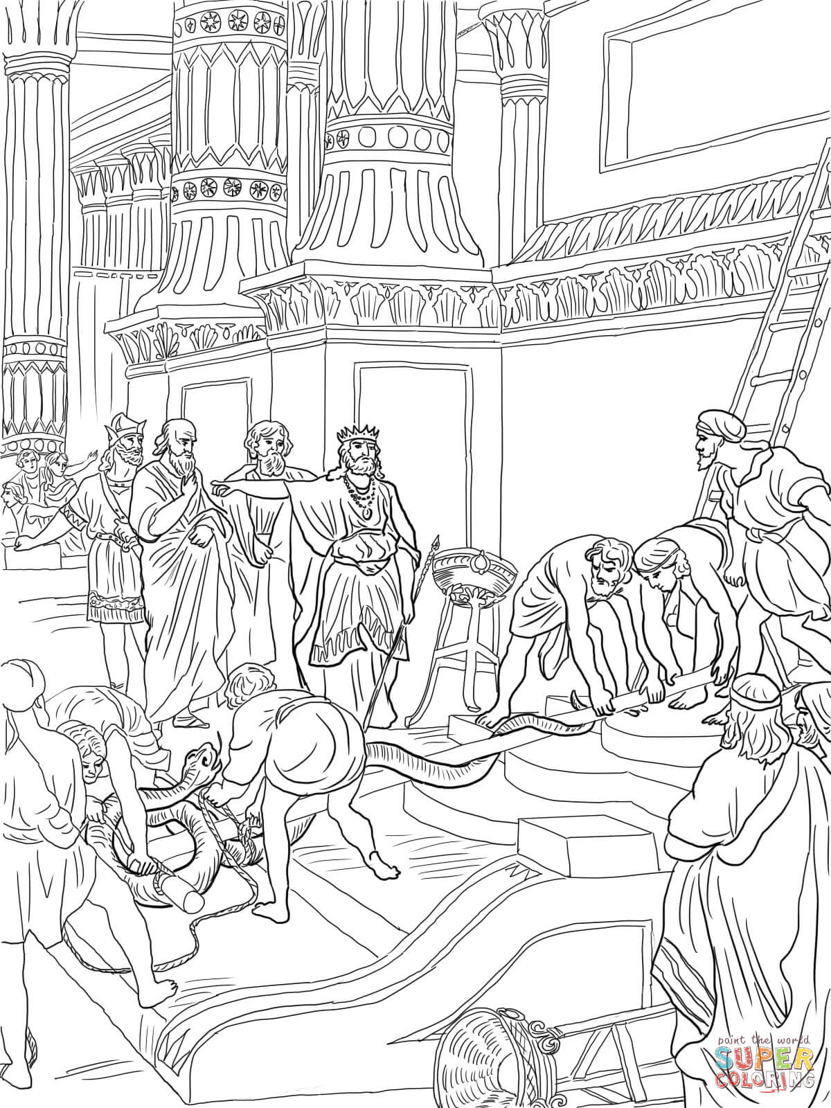 King Hezekiah Destroy Brazen Serpent Coloring Page