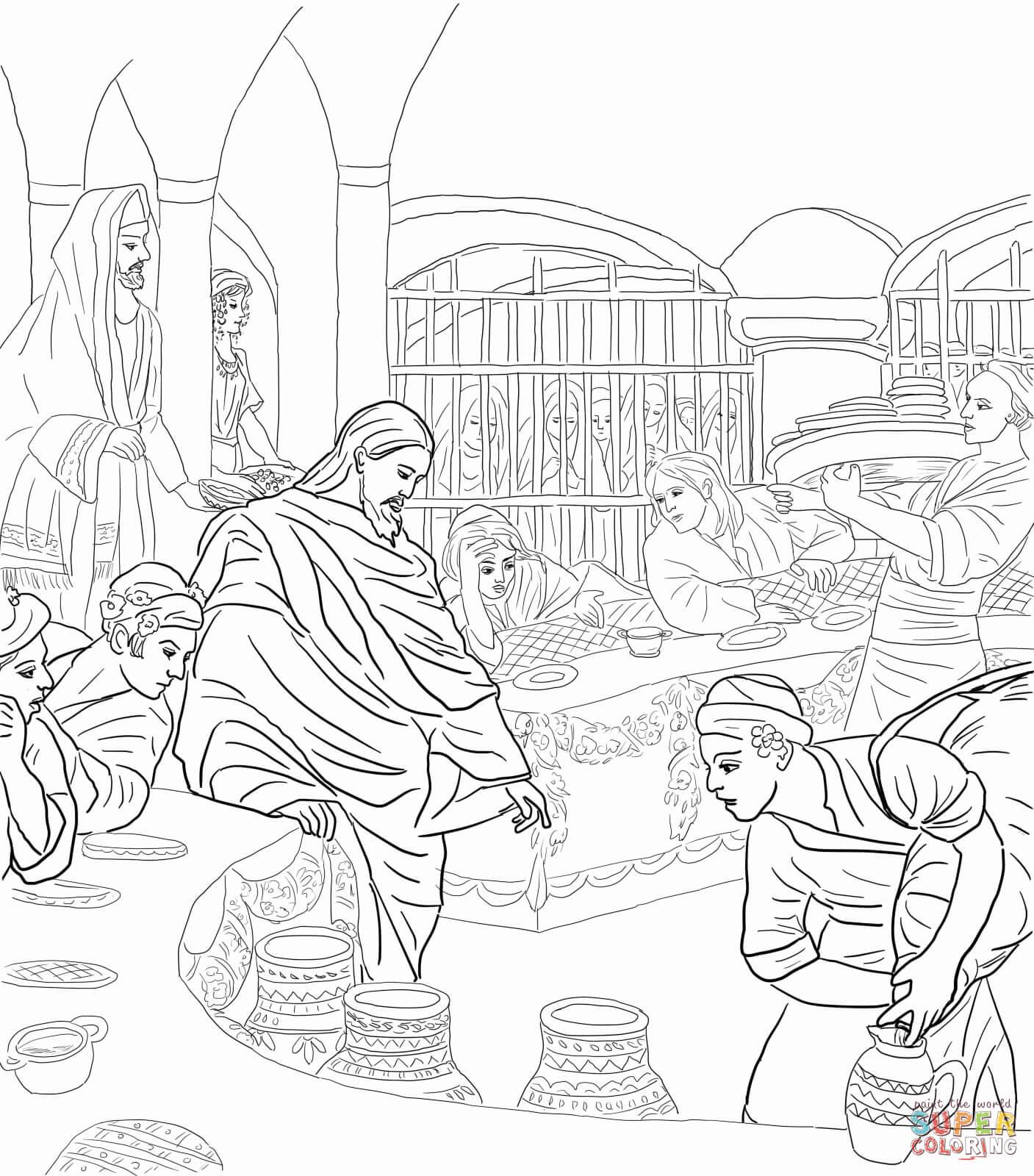 Eerste Wonder Van Jezus Op De Bruiloft Te Kana Kleurplaat